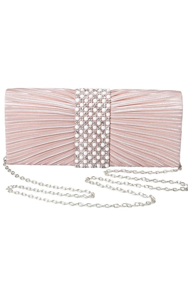 Pleated Satin Clutch with Pearl and Diamond - Bridal handbags for your wedding day