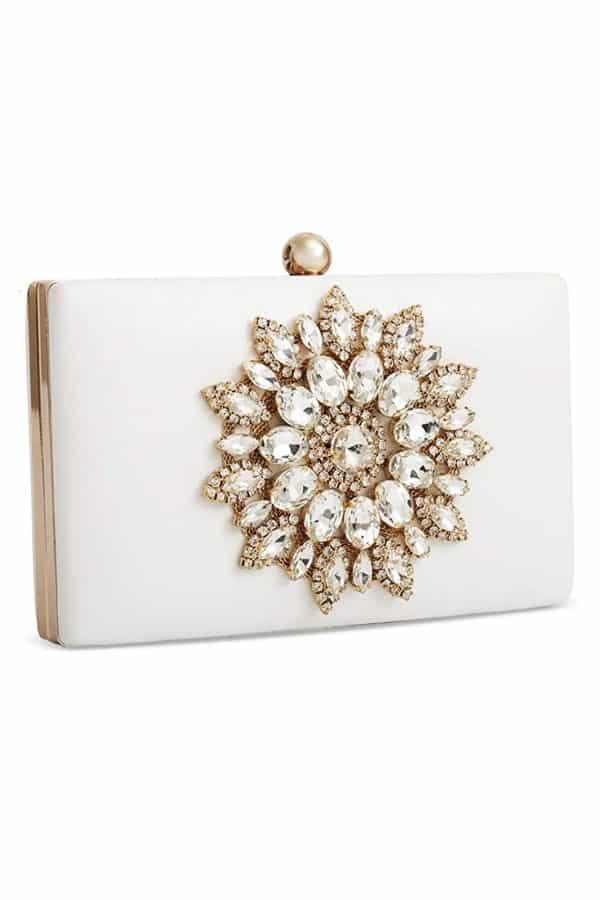 Rhinestone Flower White Clutch - Bridal handbags for your wedding day