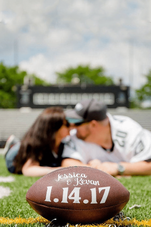 football save the date - sports themed wedding details - football wedding