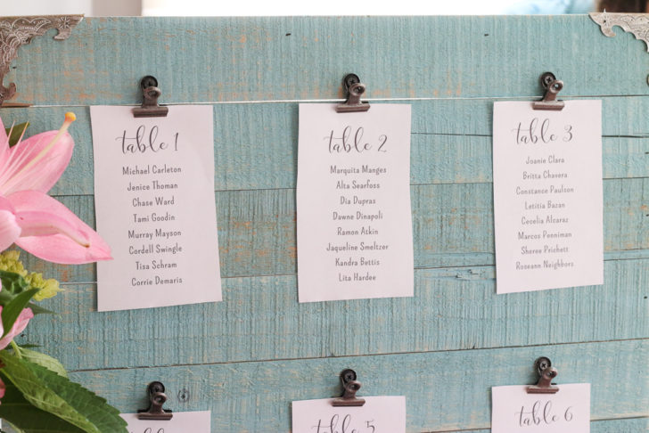 wedding guest list seating chart
