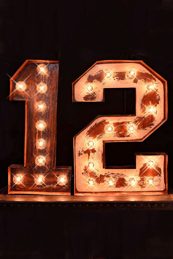 marquee numbers - sports themed wedding details - football wedding