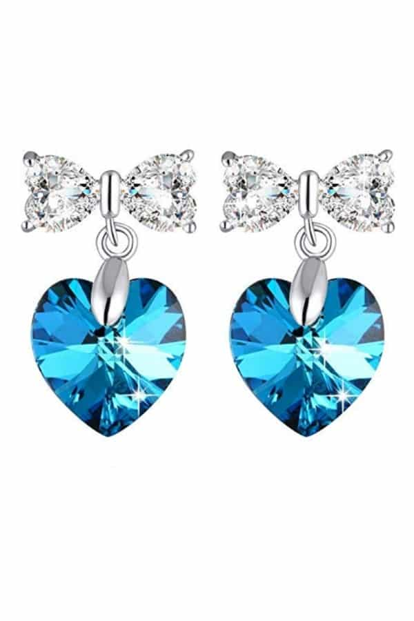 Affordable Ideas for Your Something Blue | Blue Heart And Bow Swarovski Earrings by PLATO H