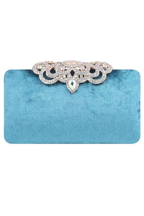 Affordable Ideas for Your Something Blue | Blue Velvet Purse by Fawziya