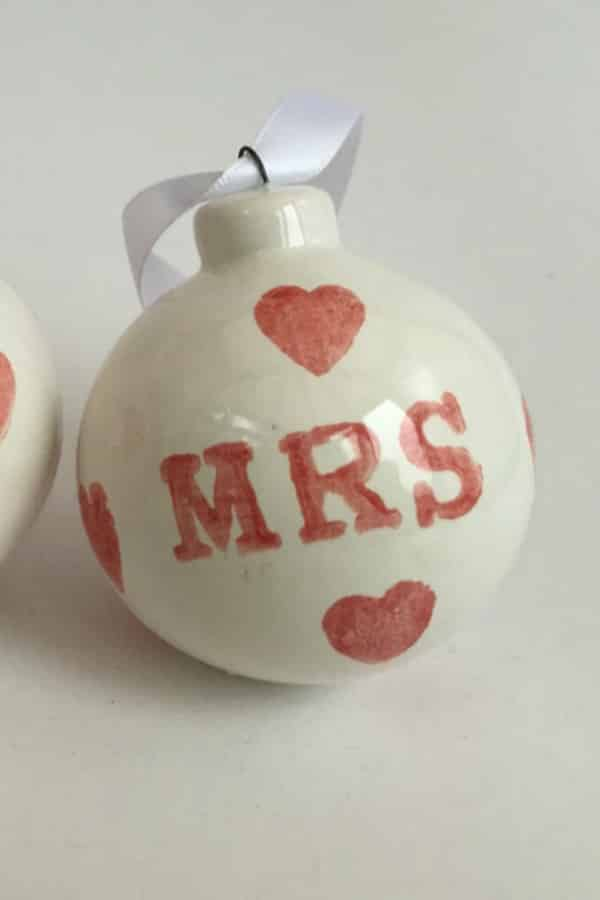 9th Wedding Anniversary Gift Ideas Ceramic Christmas Ornaments By BettyandJoans