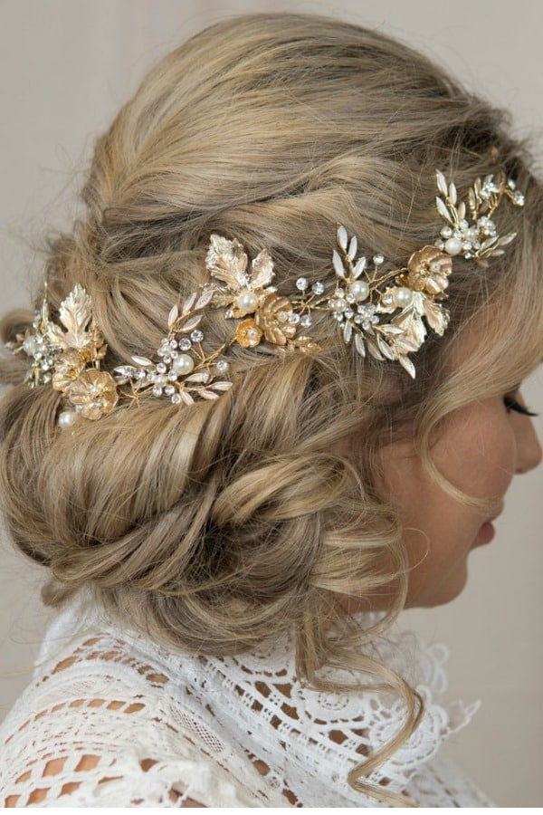 Unique Bridal Headpieces from Etsy | Gold Hair Vine by ChantelleReneeBridal