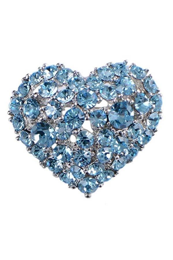 Affordable Ideas for Your Something Blue | Heart Brooch Pin by Alilang