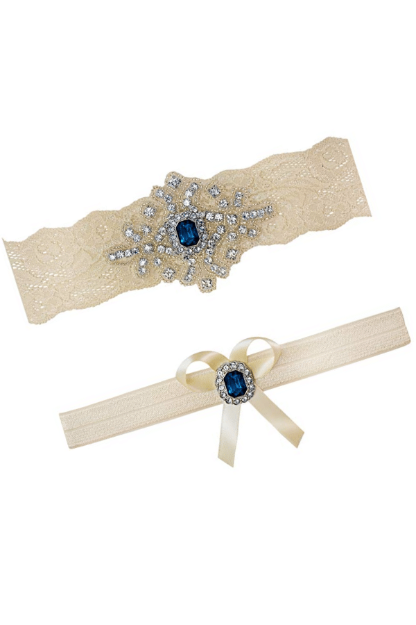 Affordable Ideas for Your Something Blue | Ivory And Sapphire Bridal Lace Garter Set by Contessa Garters