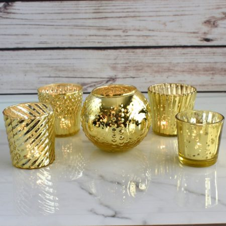 gold mercury glass wedding decor from luna bazaar