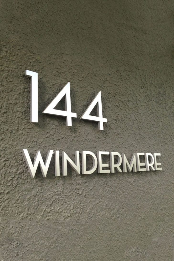 affordable tenth anniversary gift idea - aluminum modern house numbers