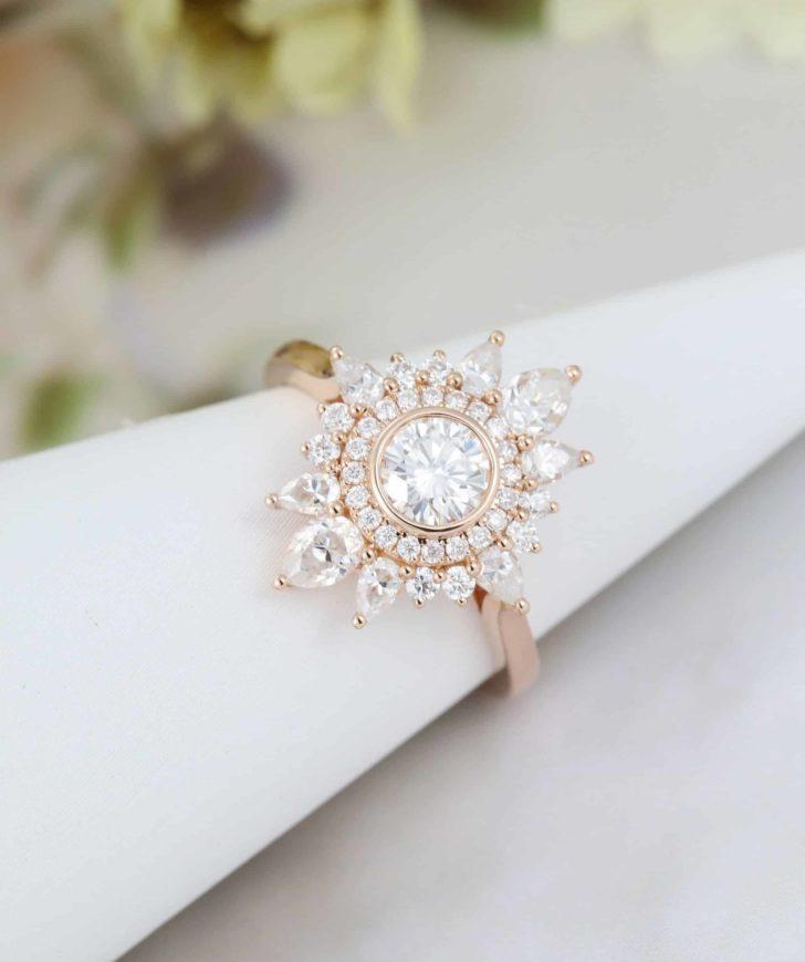 moissanite cluster ring
