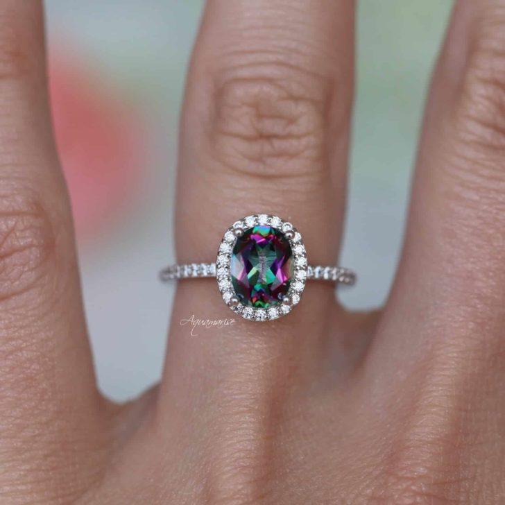 aquamarise rainbow engagement ring