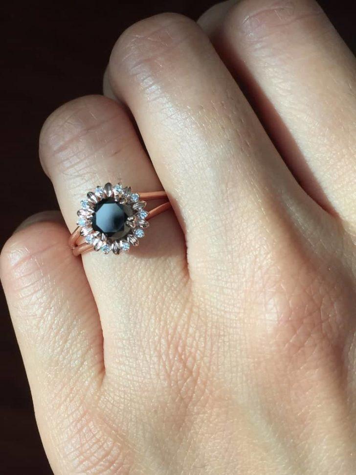 black flower engagement ring