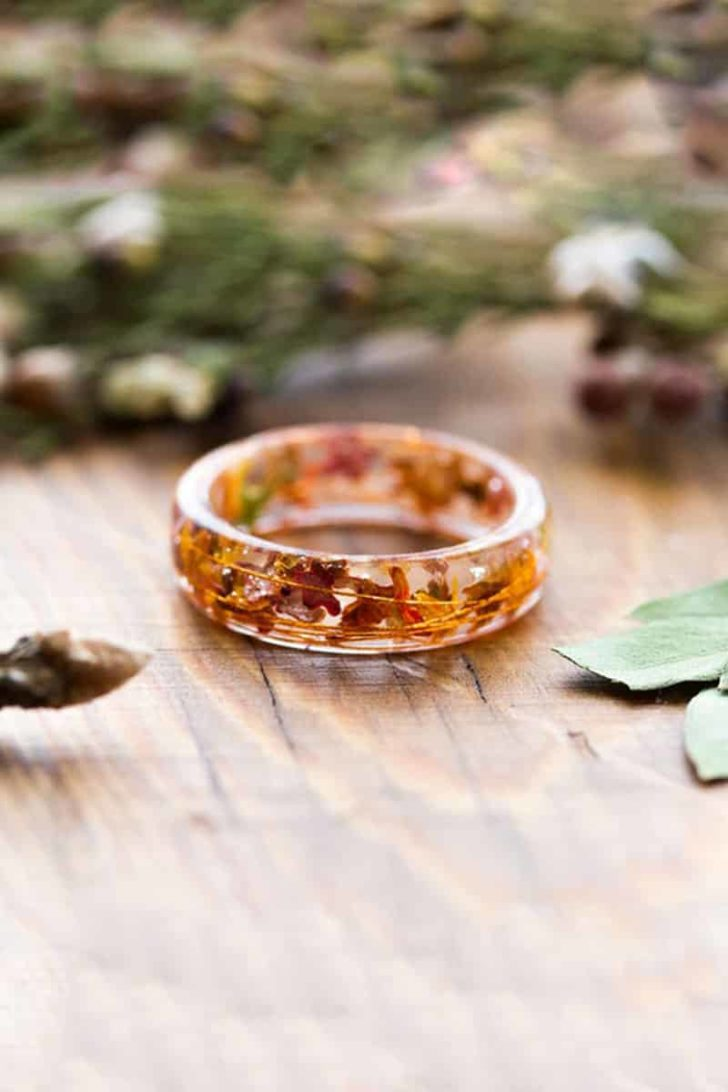 ButtonsyJewelry on Etsy - Pressed Leaves Wedding Ring