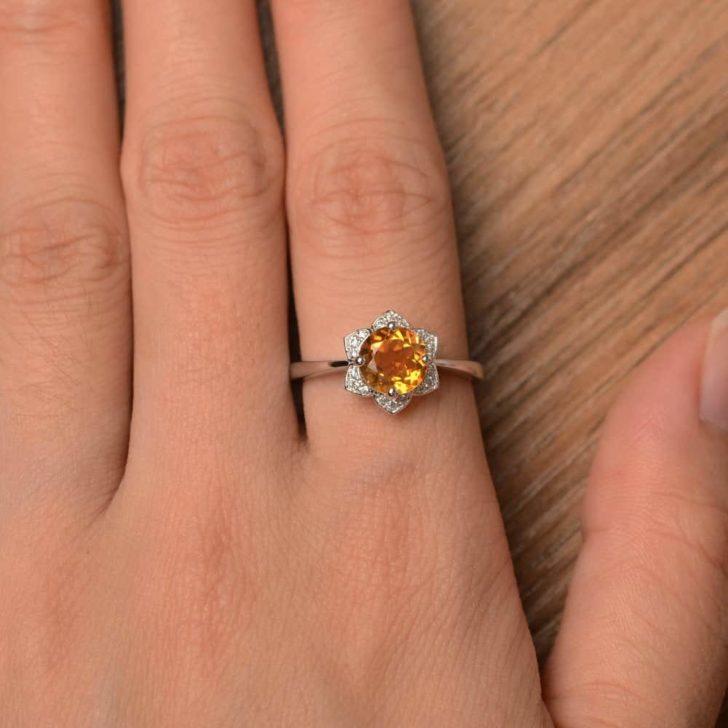 citrine flower ring