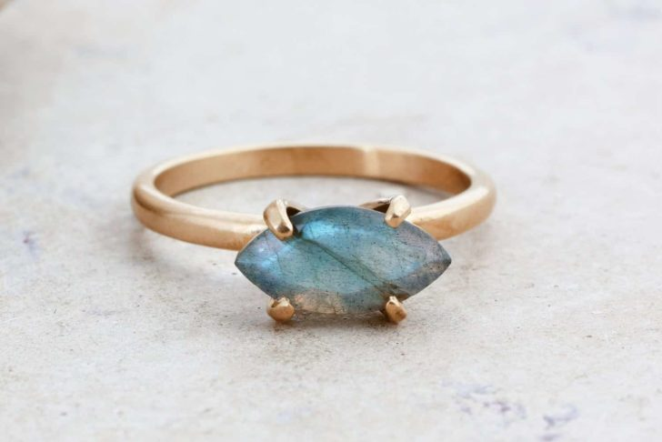 labradorite marquise engagement ring