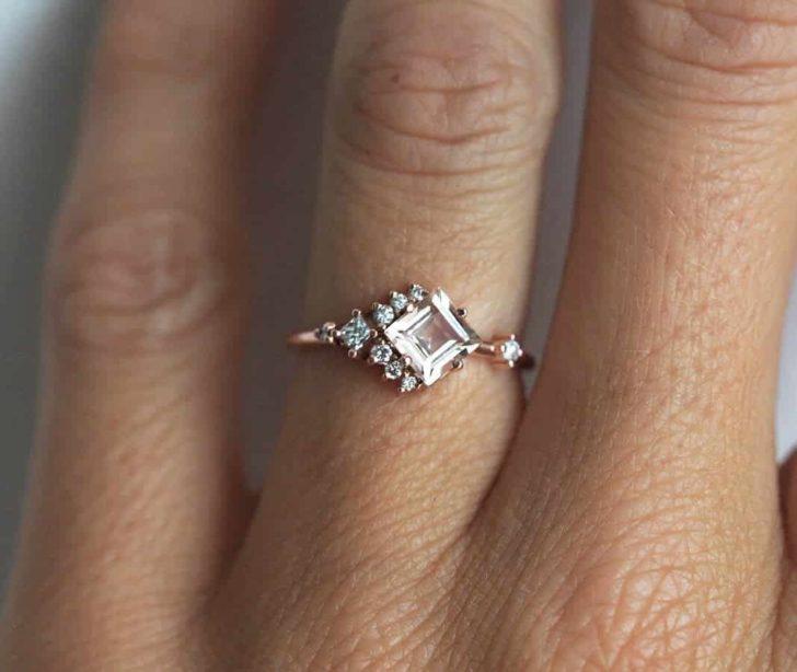 morganite cluster engagement ring