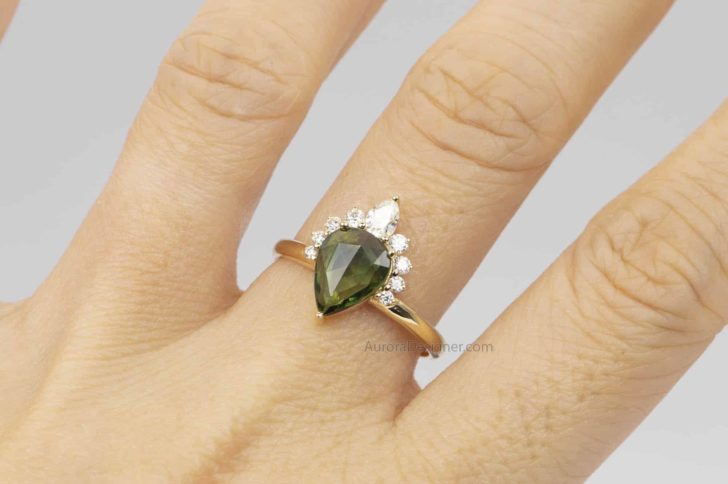 pear engagement ring with crown