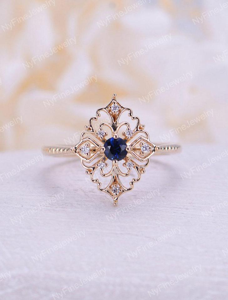 sapphire vintage engagement ring