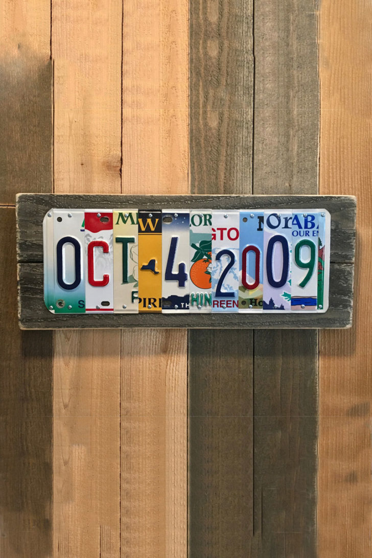 affordable tenth anniversary gift idea - custom license plate art