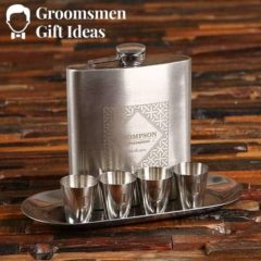 flask shotglasses silver tray