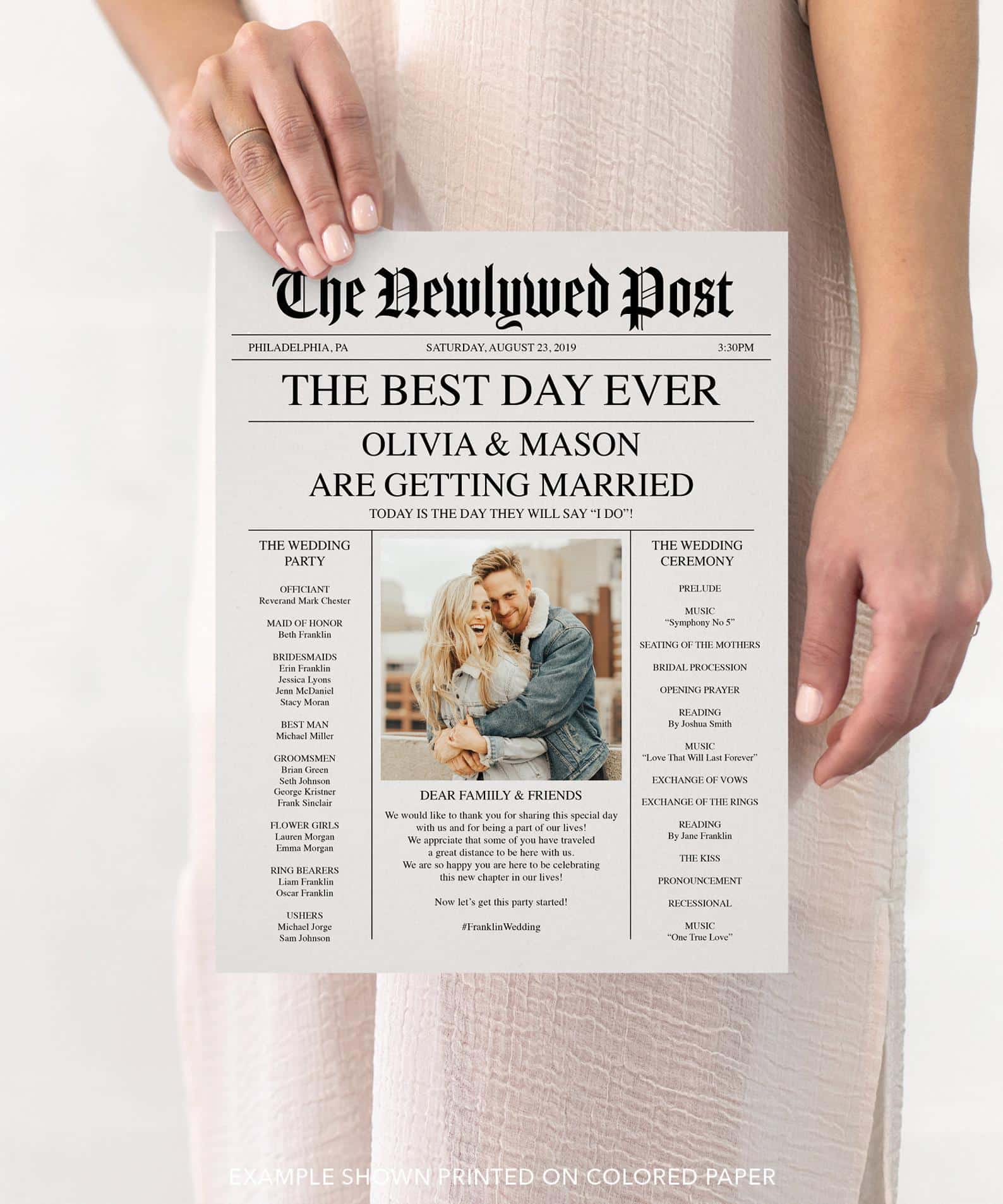 Newspaper Wedding Program - Creative Union Design