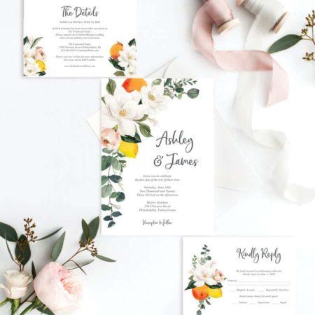Vintage Wedding Invitation Set Template - Magnolia Citrus