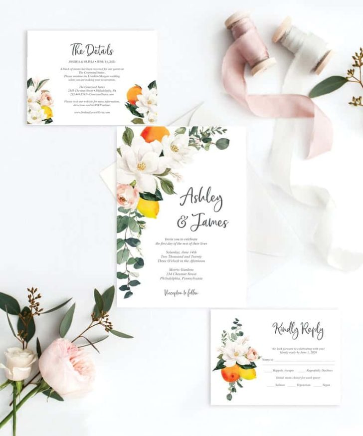 Vintage Wedding Invitation Set Template - Magnolia Citrus