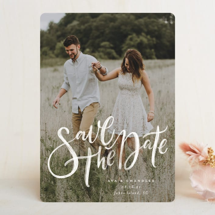 minted minimal script save the date