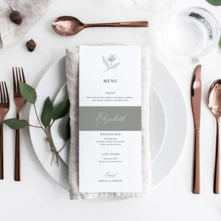 elegant wedding menu printable