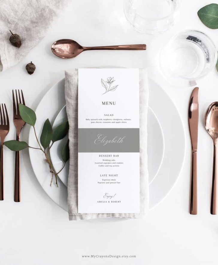 elegant wedding menu printable