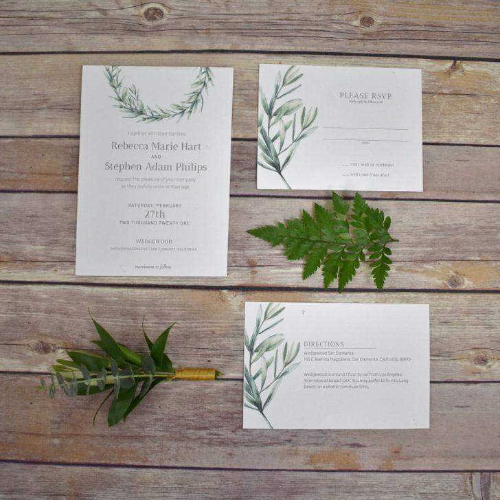greenery wedding invitations free printable