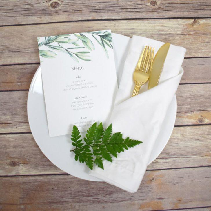 greenery wedding menu free printable