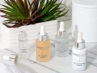 stacked skincare products