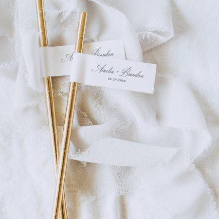 Printable Wedding Straw Flags
