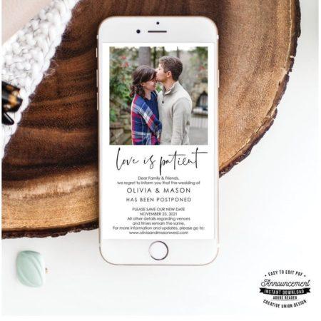 Wedding Postponement Announcement Template