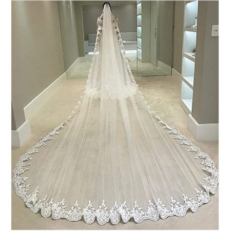 Lace-Edged Cathedral Length Veil