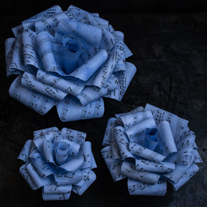 diy paper roses with sheet music