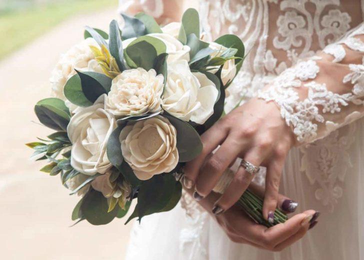 Sola Wood Flower Wedding Bouquet | Candice Becerra, Shabby Road Weddings