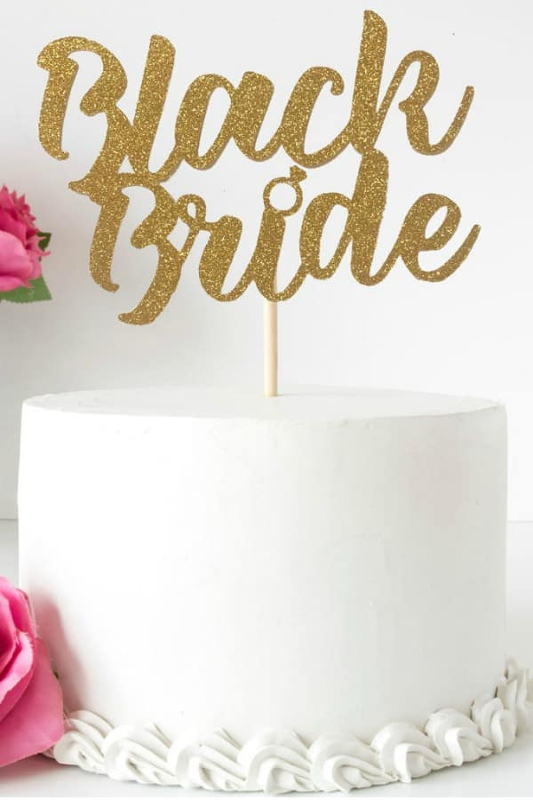 Black Bride Cake Topper