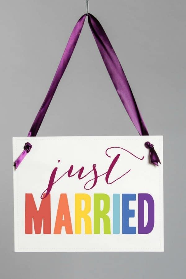 Just Married Rainbow Wedding Sign