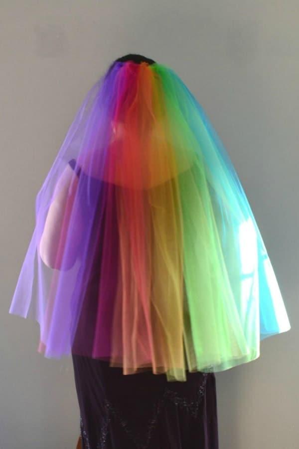 Rainbow Fingertip Veil