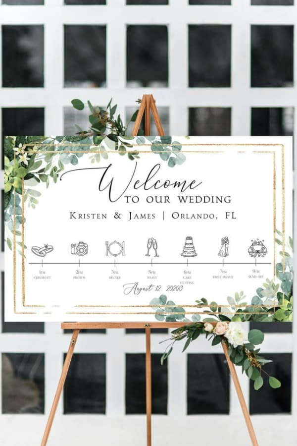 Wedding Timeline Sign Template