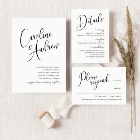 Calligraphy Wedding Invitation Suite