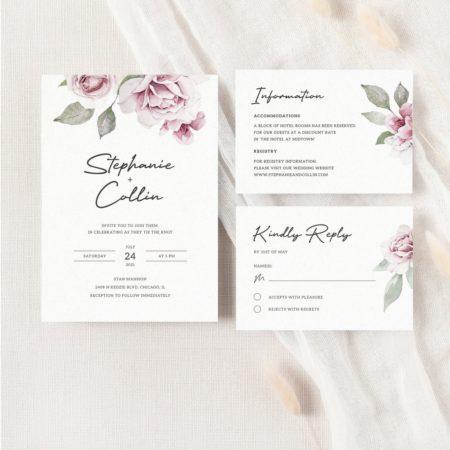 Dusty Rose Wedding Invitation Suite