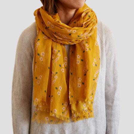 Mustard Bouquet Sheer Cotton Scarf