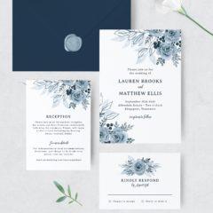 Blue Floral Wedding Invitation Set - MyCrayons Design