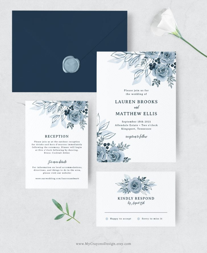 Blue Floral Wedding Invitation Set - MyCrayons Design