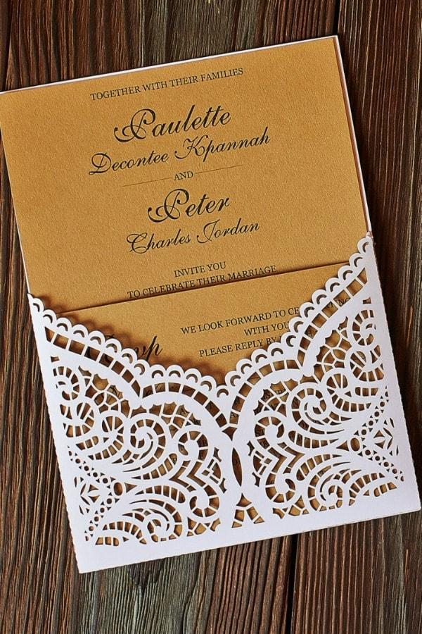 Lace Panel Pocket Invitation Template By BeautyCards