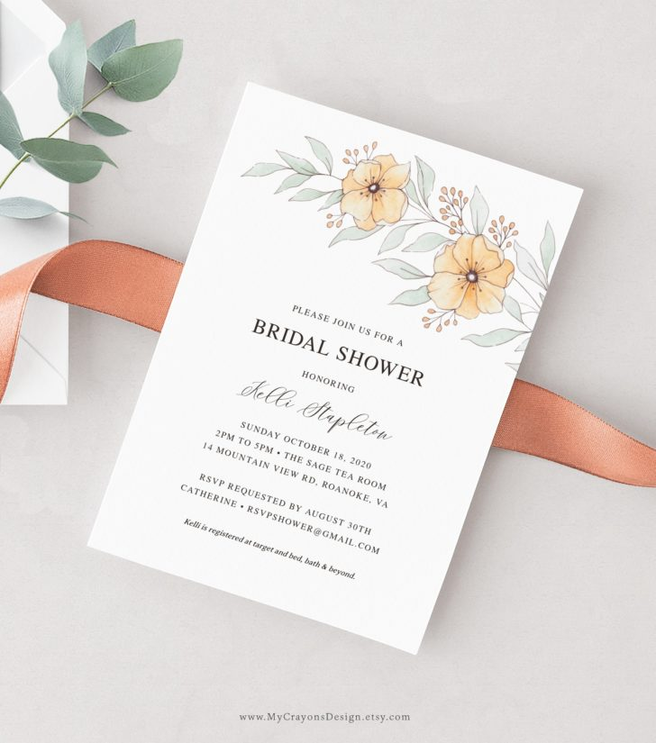 Orange Flowers Bridal Shower Invitation - MyCrayons Design