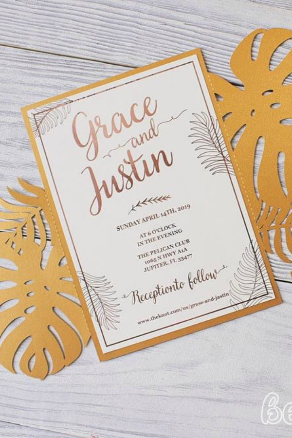Tropical Leaves Gate Fold Template By BeautyCards